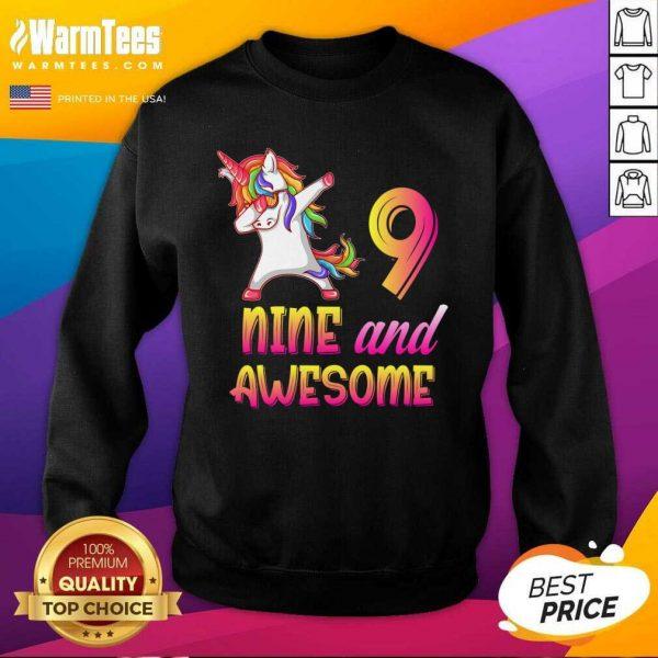 9th Birthday Girl Gift, 9 Year Old Girl Birthday, Nine And Awesome SweatShirt
