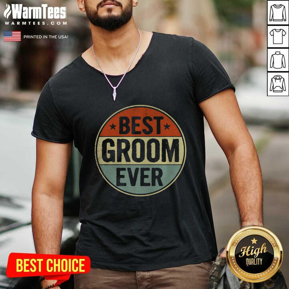 Best Groom Ever Retro Style Cool Birthday For Groom V-neck  - Design By Warmtees.com
