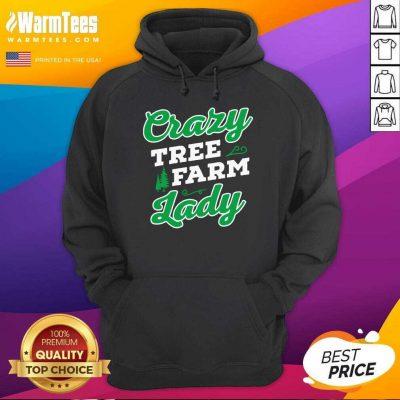 Crazy Tree Farm Lady Christmas Tree Merry Xmas Hoodie - Design By Warmtees.com