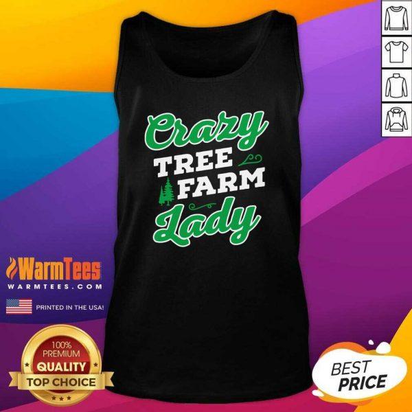Crazy Tree Farm Lady Christmas Tree Merry Xmas Tank Top - Design By Warmtees.com