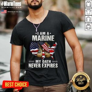 I Am A Marine My Oath Never Expires American Flag V-neck - Design By Warmtees.com