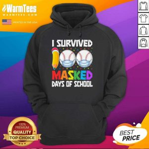 I Survived 100 Masked Days Of School Baseball Wearing Mask Hoodie