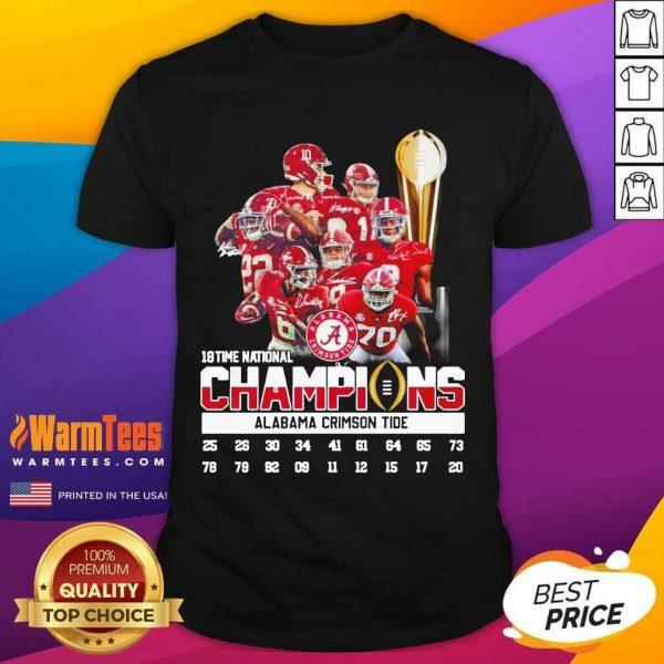 18 Time National Champions Alabama Crimson Tide Shirt