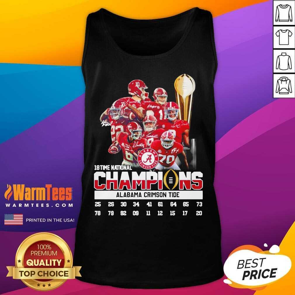 18 Time National Champions Alabama Crimson Tide Tank Top