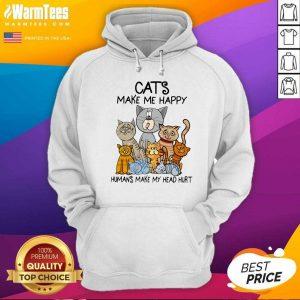 Cats Make Me Happy Humans Make My Head Hurt Hoodie - Design By Warmtees.com