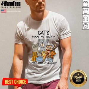 Cats Make Me Happy Humans Make My Head Hurt V-neck - Design By Warmtees.com