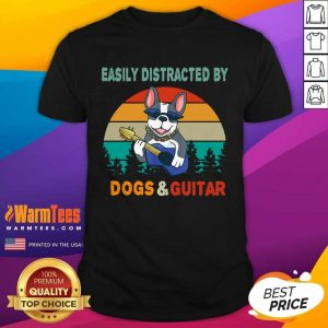 Easily Distracted By Dogs And Guitar Vintage Sunset Shirt - Design By Warmtees.com