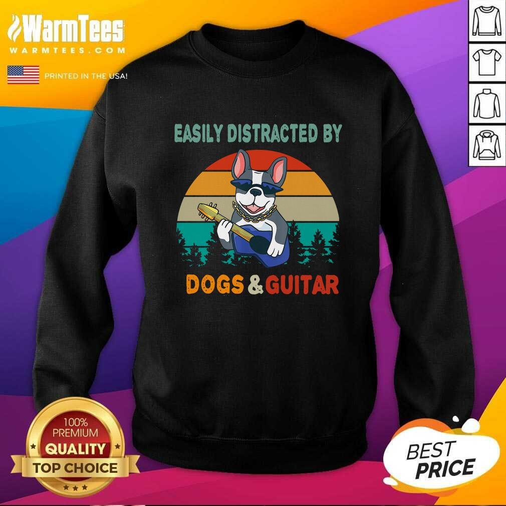 Easily Distracted By Dogs And Guitar Vintage Sunset SweatShirt - Design By Warmtees.com