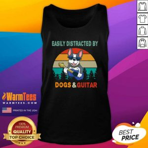 Easily Distracted By Dogs And Guitar Vintage Sunset Tank Top - Design By Warmtees.com