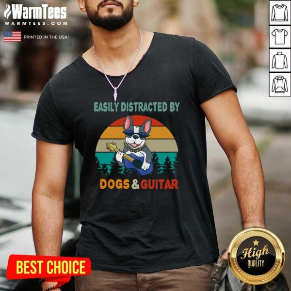 Easily Distracted By Dogs And Guitar Vintage Sunset V-neck - Design By Warmtees.com