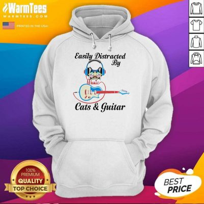 Easily Distracted By Music Cats And Guitar Hoodie