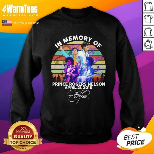 In Memory Of Prince Rogers Nelson April 21 2016 Signature Vintage SweatShirt - Design By Warmtees.com