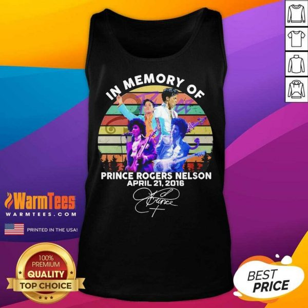 In Memory Of Prince Rogers Nelson April 21 2016 Signature Vintage Tank Top - Design By Warmtees.com