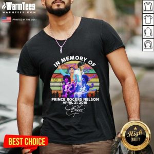 In Memory Of Prince Rogers Nelson April 21 2016 Signature Vintage V-neck - Design By Warmtees.com