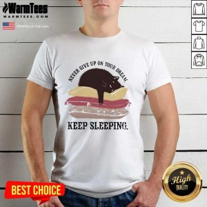 Never Give Up On Your Dream Keep Sleeping Cats Lying On Pillow Shirt - Design By Warmtees.com