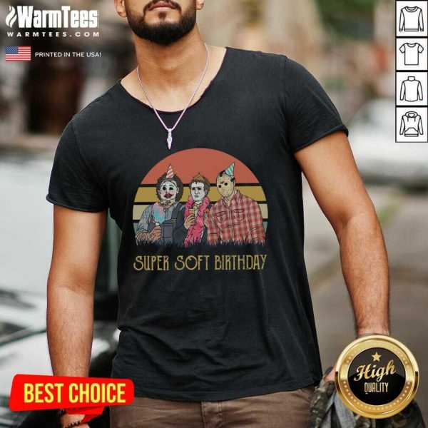 Horror Movie Characters Super Soft Birthday Vintage V-neck - Design By Warmtees.com