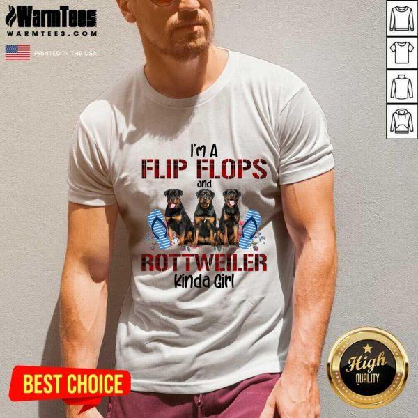I'm A Flip Flops And Rottweiler Kinda Girl V-neck - Design By Warmtees.com