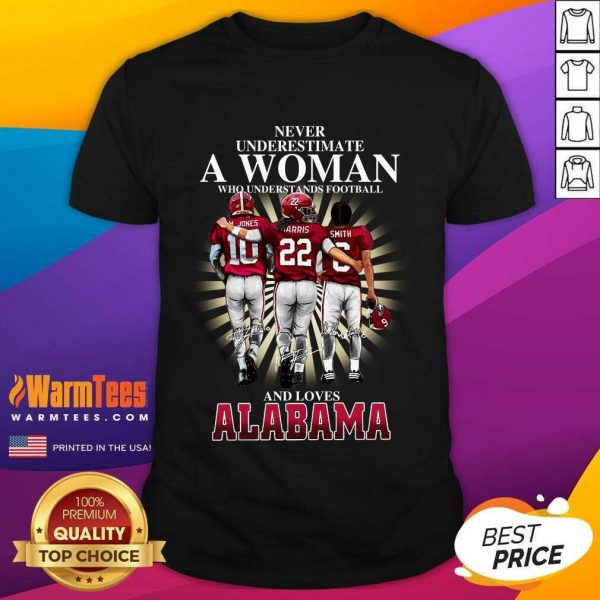 Never Underestimate A Woman Who Understands Football And Loves Alabama Crimson Tide M.Jones Harris Smith Signatures Shirt