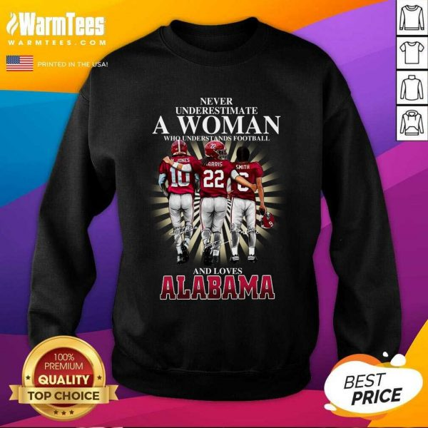 Never Underestimate A Woman Who Understands Football And Loves Alabama Crimson Tide M.Jones Harris Smith Signatures SweatShirt