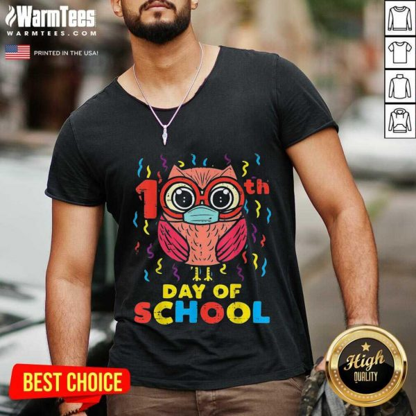 Owl Face Mask 100th Day Of School V-neck
