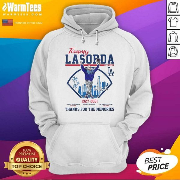 Tommy Lasorda Manager 1927 2021 Los Angeles Dodgers Signature Thanks Hoodie