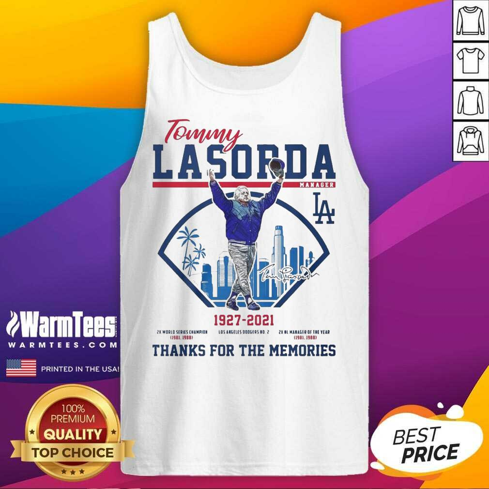 Tommy Lasorda Manager 1927 2021 Los Angeles Dodgers Signature Thanks Tank Top