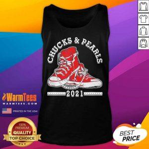 Vice President Kamala Harris Chucks And Pearls 2021 Red Tank Top