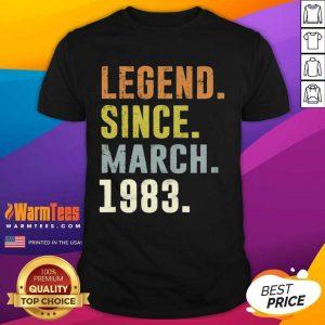 38th Retro Birthday Vintage Legend Since 1983 Shirt