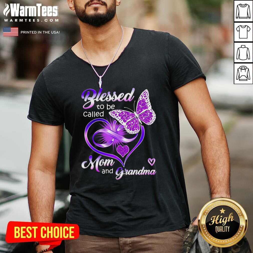 Blessed To Be Called Mom And Grandma Purple Infinity Heart And Butterfly V-neck - Design By Warmtees.com