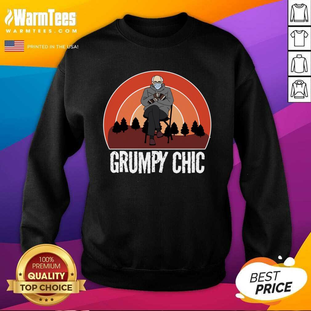 Grumpy Chic Bernie Sanders Smitten For Mittens Inauguration SweatShirt