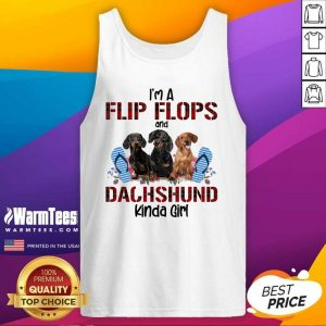 I'm Flip Flops And Dachshund Kinda Girl Flower Tank Top - Design By Warmtees.com