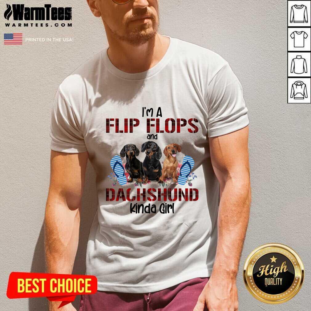 I'm Flip Flops And Dachshund Kinda Girl Flower V-neck  - Design By Warmtees.com