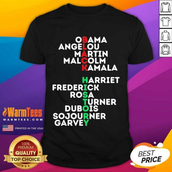 Obama Angelou Martin Malcolm Kamala Harriet Frederick Rosa Turner Dubois Sojourner Garvey Shirt