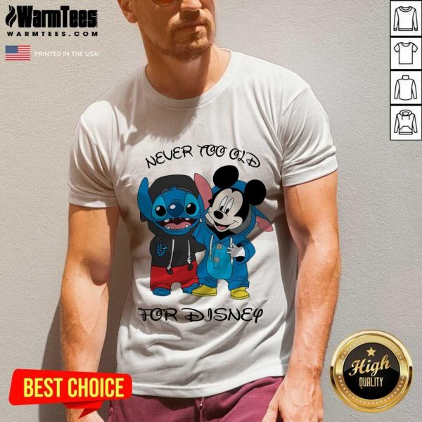 Stitch And Mickey Mouse Never Too Old For Disney V-neck