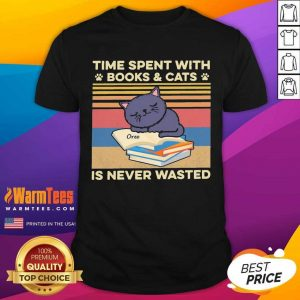 Time Spent With Books And Cats Is Never Wasted Vintage Shirt - Design By Warmtees.com