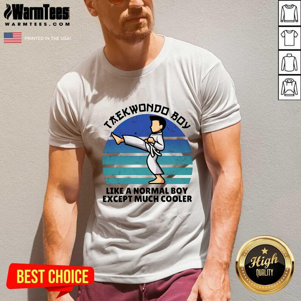 Vintage Taekwondo Boy Like A Normal Boy Except Much Cooler V-neck  - Design By Warmtees.com