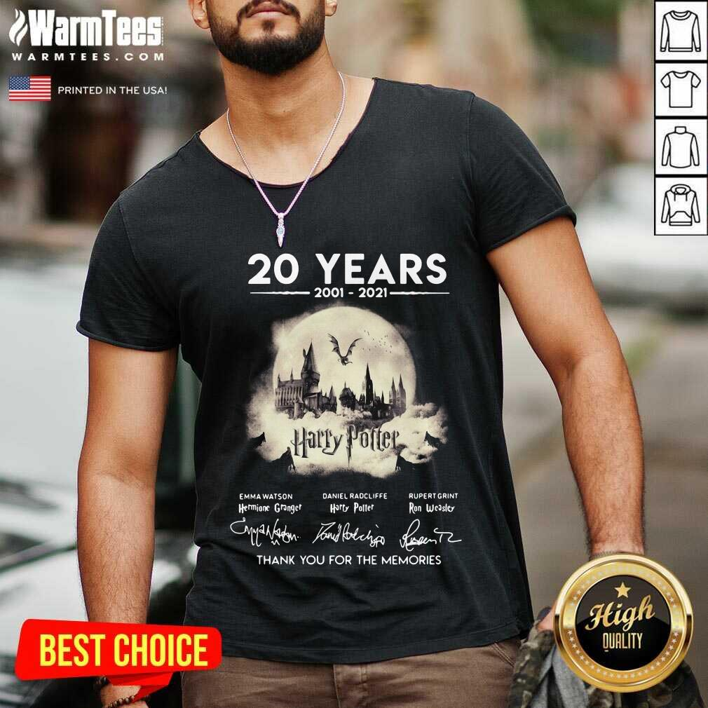 20 Years 2001 2021 Harry Potter Thank You For The Memories Signatures V-neck