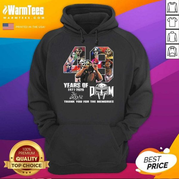 49 Years Of Mf Doom Thank You For The Memories Signatures Hoodie - Design By Warmtees.com