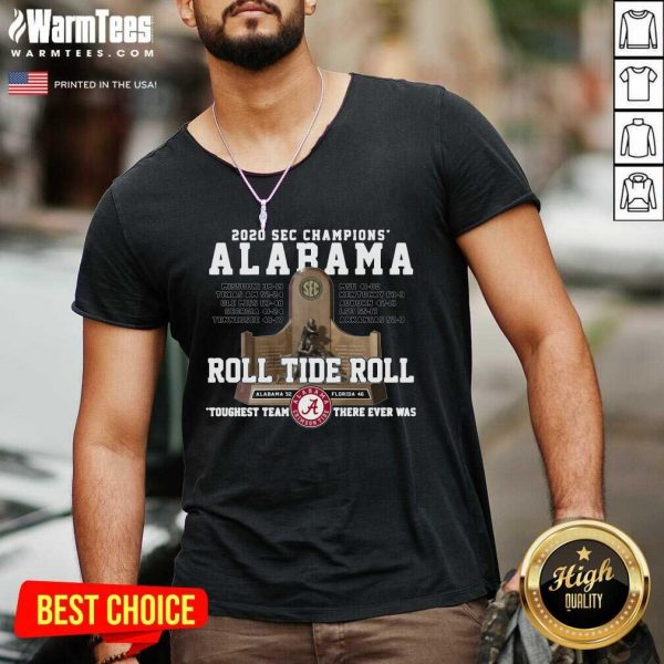 Alabama Crimson 2020 Sec Champions Roll Tide Roll V-neck - Design By Warmtees.com