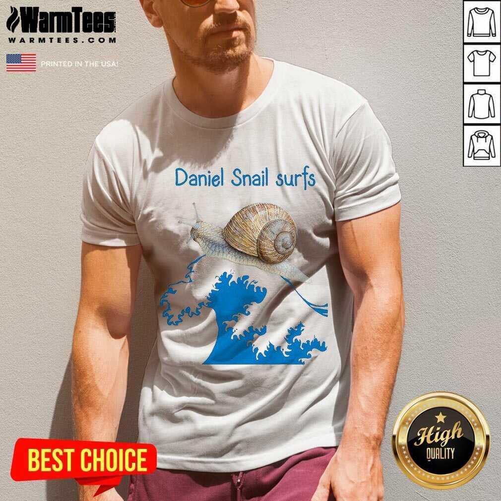 Daniel Snail Surfs Cute Snail Surfer Dude V-neck