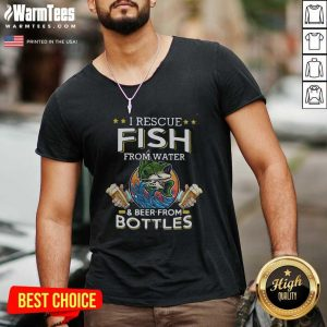Fishing I Rescue Fish From Water And Beer From Bottles V-neck - Design By Warmtees.com