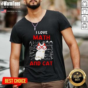 I Love Math And Cat V-neck - Design By Warmtees.com