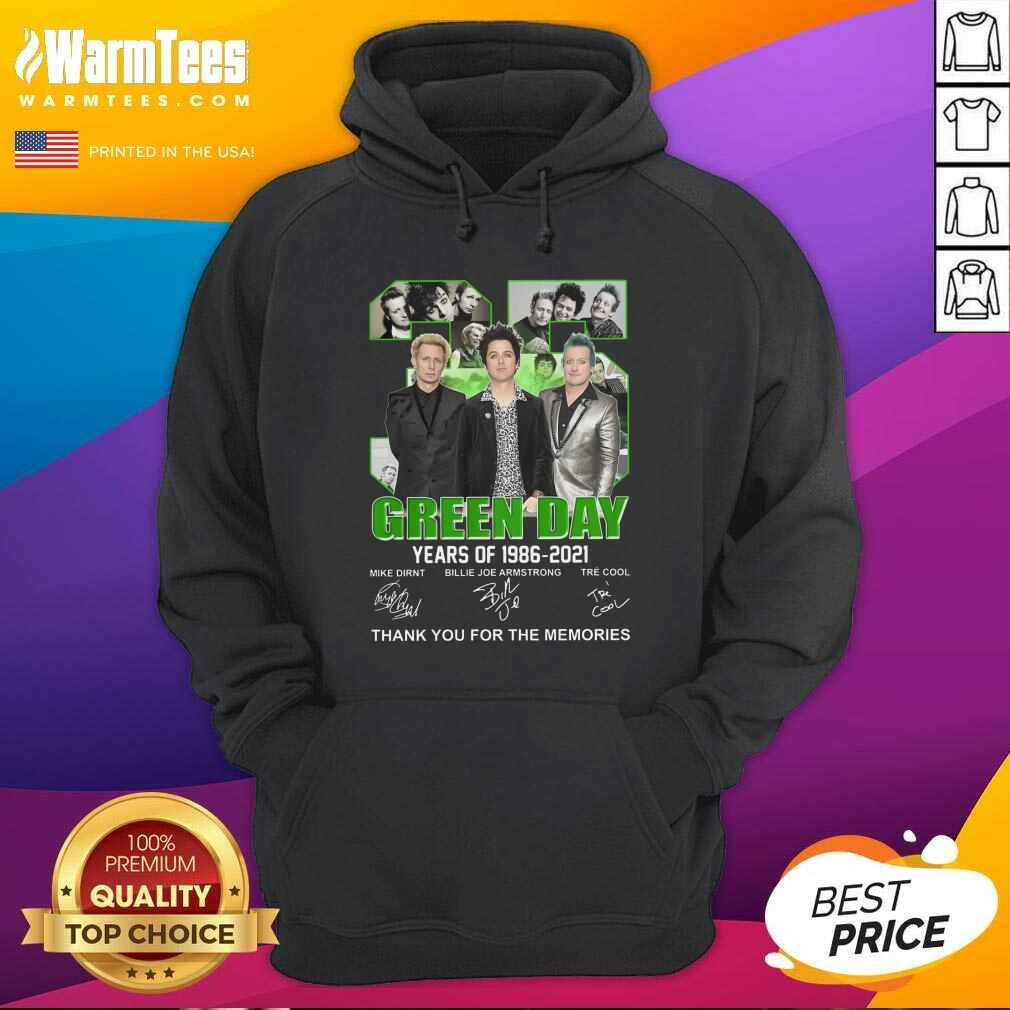 35 Green Day Years Of 1986 2021 Signatures Thank You For The Memories Hoodie  - Design By Warmtees.com