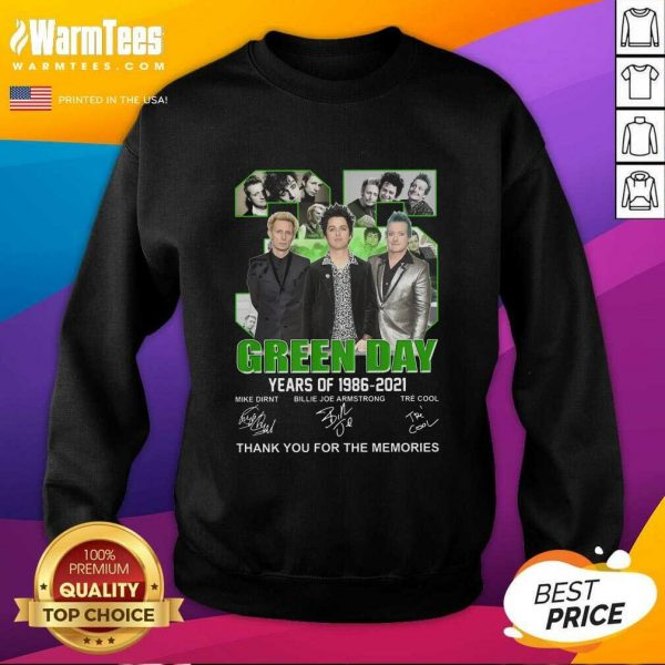 35 Green Day Years Of 1986 2021 Signatures Thank You For The Memories SweatShirt - Design By Warmtees.com