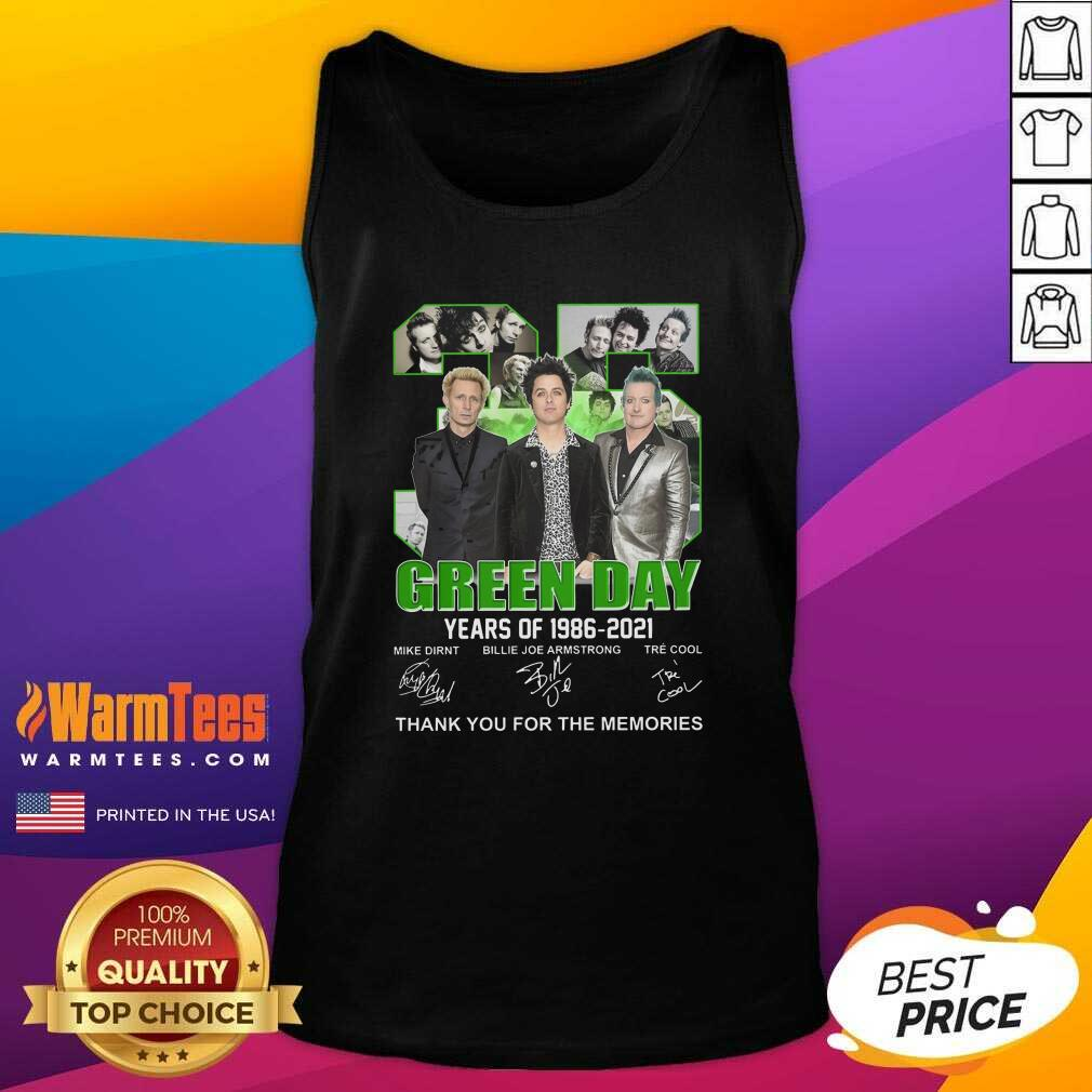 Top 35 Green Day Years Of 1986 2021 Signatures Thank You For The Memories Tank Top  - Design By Warmtees.com