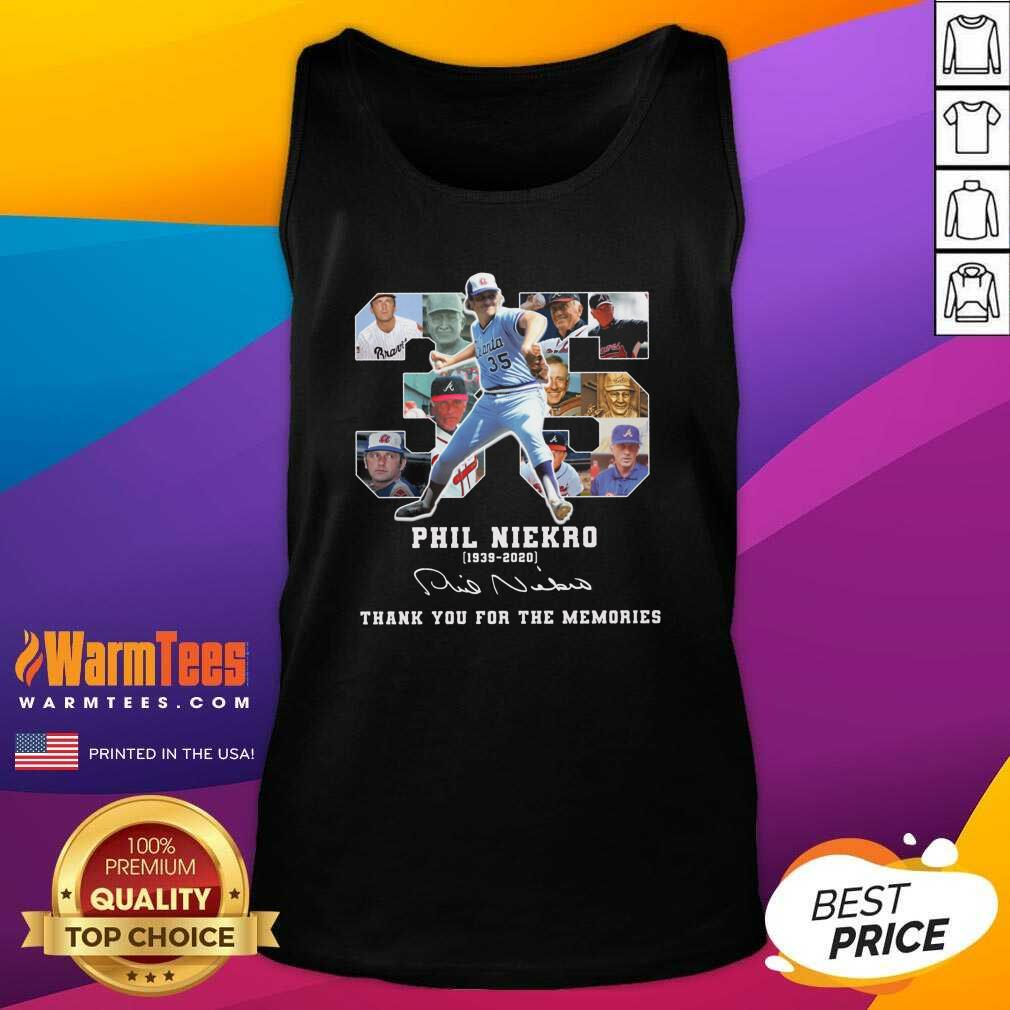 35 Phil Niekro 1939 2020 Signature Thank You For The Memories Tank Top  - Design By Warmtees.com