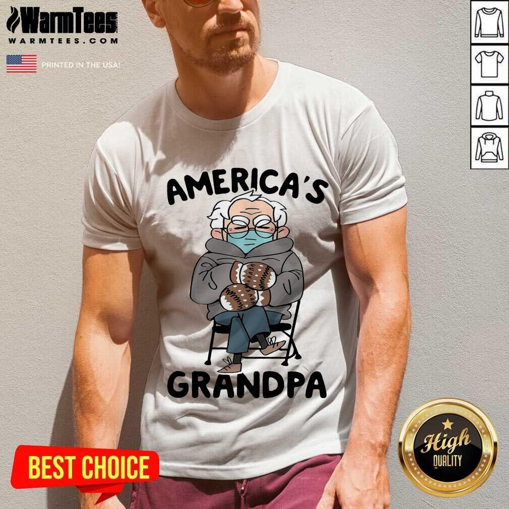 Bernie Sanders Mittens America's Grandpa V-neck