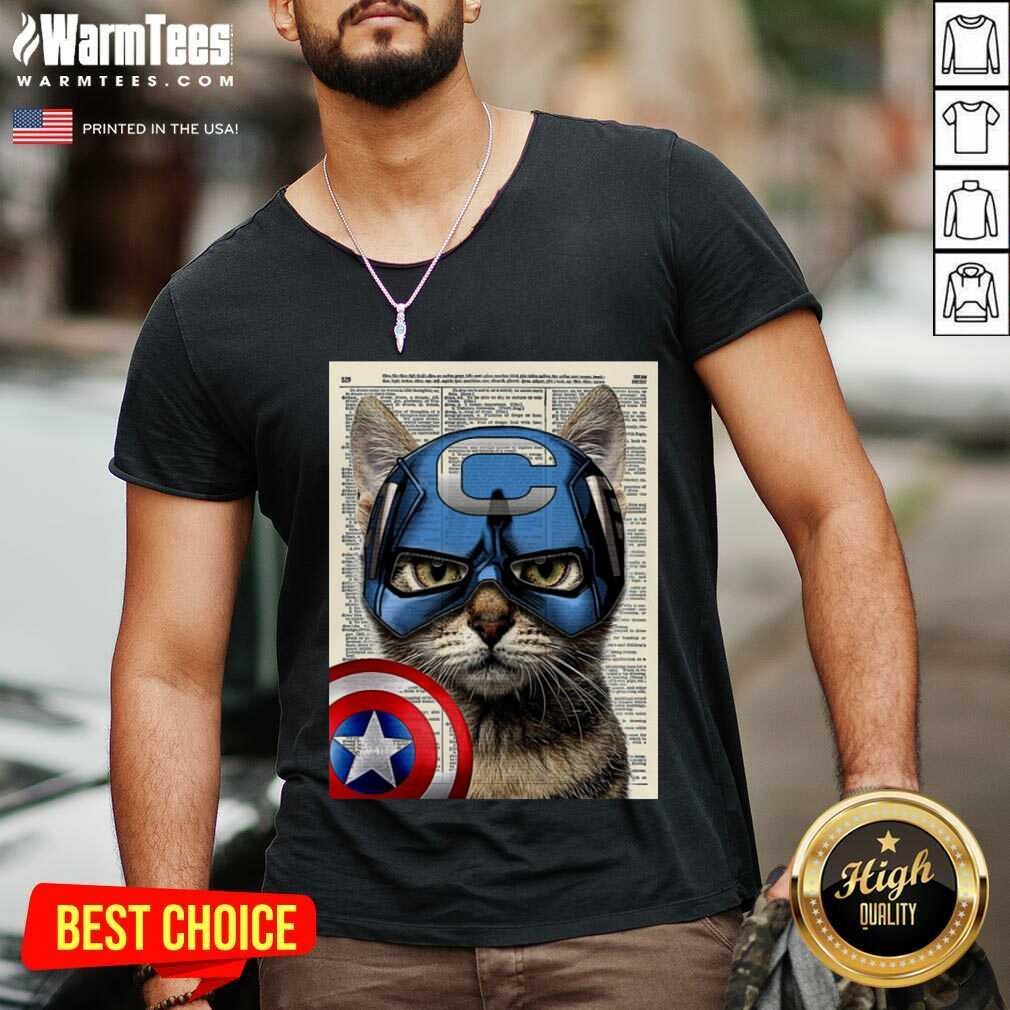 Cat Captain America V-neck