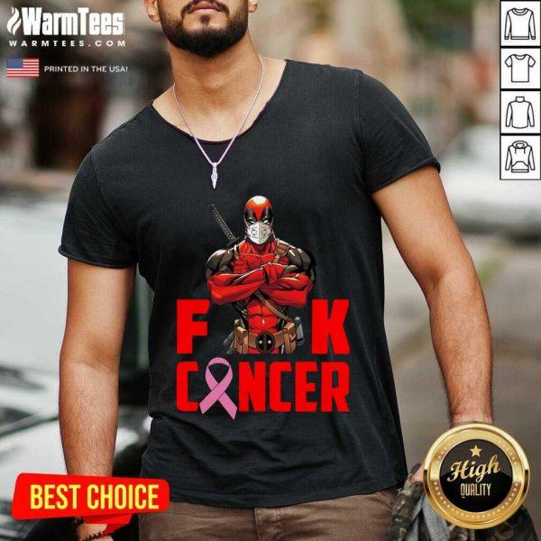 Deadpool Fuck Breast Cancer V-neck - Design By Warmtees.com