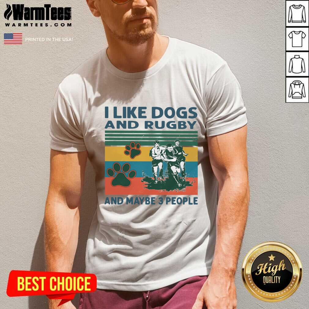 I Like Dogs And Rugby And Maybe 3 People Vintage V-neck  - Design By Warmtees.com